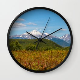 Fall and volcanoes Wall Clock