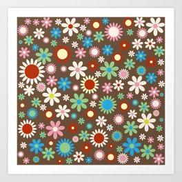 Flowers, Petals, Blossoms - Red Green Blue Brown Art Print