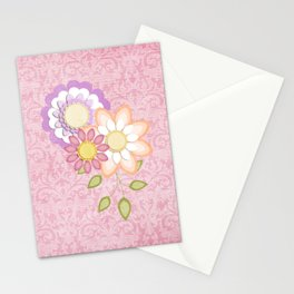 Colorful Spring Posy Pink Damask Style Brocade Stationery Cards