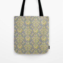 Damask Pattern in Grey and Yellow Tote Bag