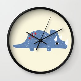 Cute Blue Triceratops Dinosaur Wall Clock