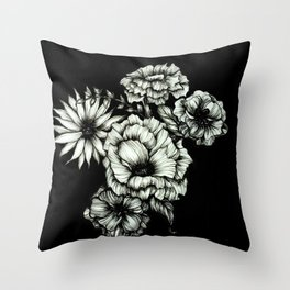 Black Floral Ink III Throw Pillow