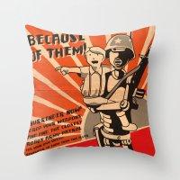 propaganda Throw Pillows featuring Propaganda Series by Alex.Raveland...robot.design.digital.art