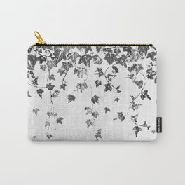Hand Printed Black and White Trailing Ivy Carry-All Pouch