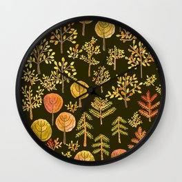 Watercolor autumn forest in doodle style Wall Clock