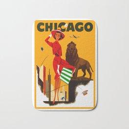 Vintage Chicago Illinois Travel Bath Mat