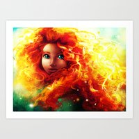 be brave Art Prints featuring Brave by Peach Momoko