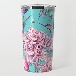 Watercolor crane and blooming peonies Travel Mug