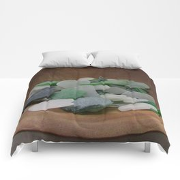 Green and White Sea Glass Comforters