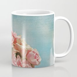 Vintage Inspired Pink Roses in Pastel Blue Sky with French Script Coffee Mug