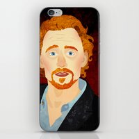 tom hiddleston iPhone & iPod Skins featuring Portrait: Tom Hiddleston by Delucienne Maekerr