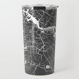 Amsterdam Gray on White Street Map Travel Mug