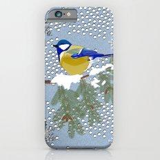 Blue bird in winter iPhone 6s Slim Case