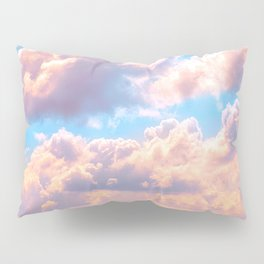 Beautiful Pink Cotton Candy Clouds Against Baby Blue Sky Fairytale Magical Sky Pillow Sham