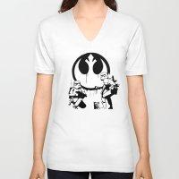 banksy V-neck T-shirts featuring Banksy Troopers by Don Calamari