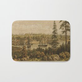 Vintage Pictorial Map of Victoria Vancouver (1860) Bath Mat
