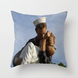 Kissing Sailor And Nurse Portrait Throw Pillow