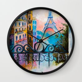Romantic date in Paris Wall Clock