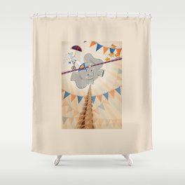 Elephant on tightrope Shower Curtain