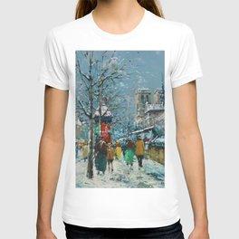 Notre-Dame et les Quais, Winter, Paris by Antoine Blanchard T-shirt