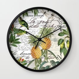 Tropical Fruit Illustration Vintage Style Wall Clock