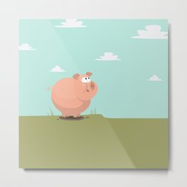Feed the piggy Metal Print