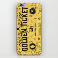 roald dahl iPhone & iPod Skins featuring THE GOLDEN TICKET by Level Seven