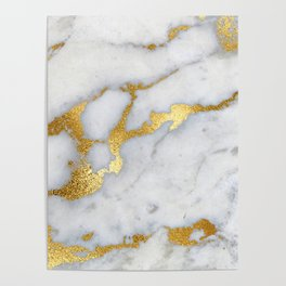 White and Gray Marble and Gold Metal foil Glitter Effect Poster