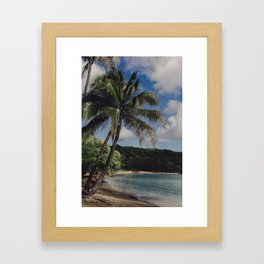 Hawaii Haze - Tropical Beach with Palm Trees Framed Art Print