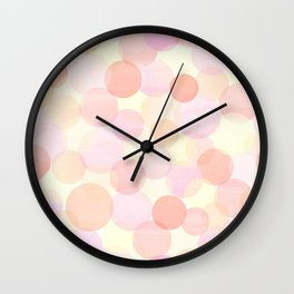Pink and coral-red dots overprint pattern Wall Clock