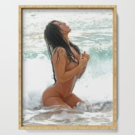 9425-SS Wet Woman Nude Beach Sand Surf Big Breasts Long Black Hair Sexy Erotic Art Serving Tray