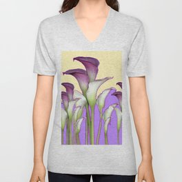 WHITE-MAROON CALLA LILIES PURPLE VIOLET ART DESIGN Unisex V-Neck