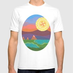 Sunset Mountains MEDIUM Mens Fitted Tee White