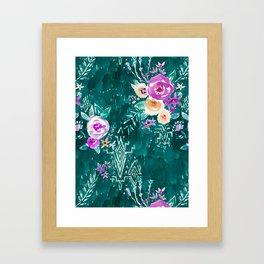 LAVISH FLORAL - EMERALD Framed Art Print