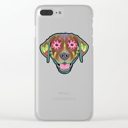Labrador Retriever - Chocolate Lab - Day of the Dead Sugar Skull Dog Clear iPhone Case