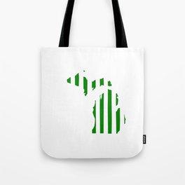 Green and White Michigan Tote Bag