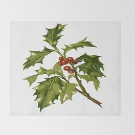 Holly Christmas Red Berry Throw Blanket