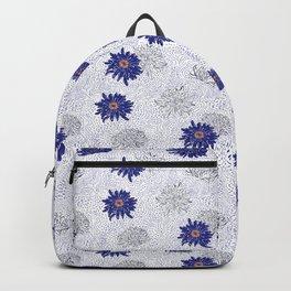 Blue Japanese Flower pattern Backpack