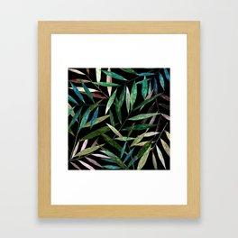 Bamboo Leaves at Night Framed Art Print