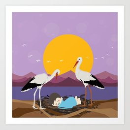 Courier adopted baby Art Print