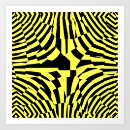Abstract geometric aboriginal black yellow zebra design pattern of converging lines and shapes Art Print