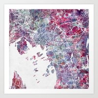 oslo Art Prints featuring Oslo Map by MapMapMaps.Watercolors