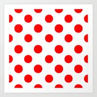 polka dots Art Prints featuring Polka Dots (Red/White) by 10813 Apparel