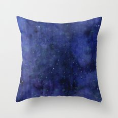 Galaxy Watercolor Nebula Texture Night Sky Stars Throw Pillow