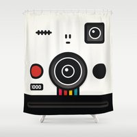 polaroid Shower Curtains featuring polaroid by The Geek Store