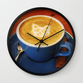 Coffee and Cats-A cat face in a coffee design Wall Clock