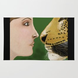 Lady and Leopard  Rug