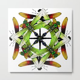 Dragonfly Compass Rose Metal Print