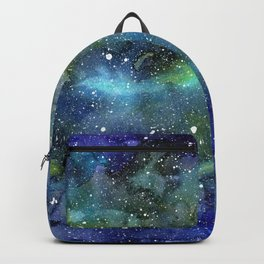 Space Galaxy Blue Green Watercolor Nebula Painting Backpack