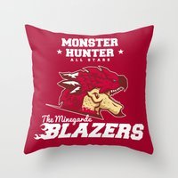 monster hunter Throw Pillows featuring Monster Hunter All Stars - The Minegarde Blazers by Bleached ink
